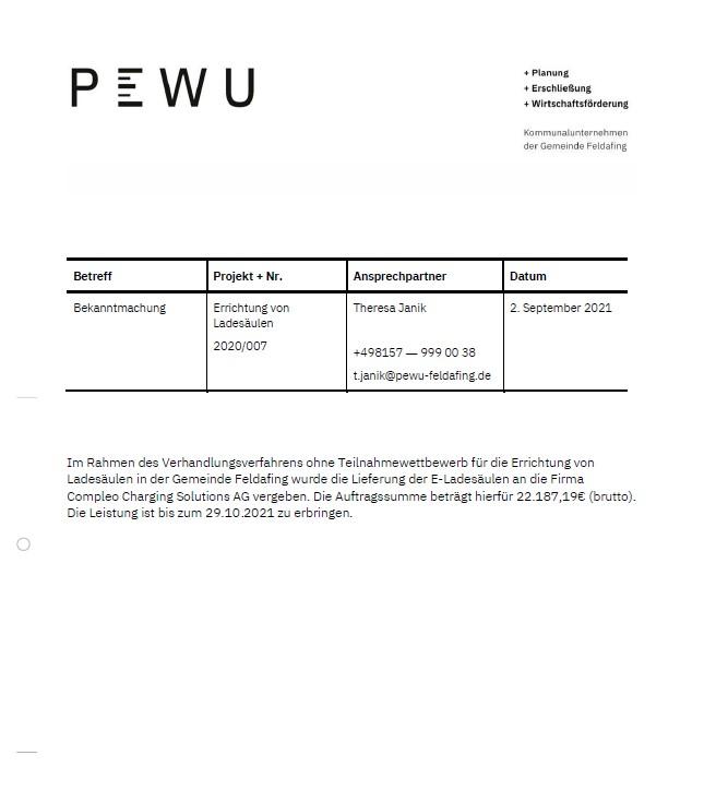 PEWU - E-Ladesäulen